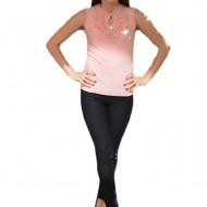 Top roz somon din material elastic cu design de fodra si strasuri
