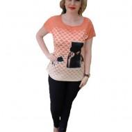 Tricou fasion de vara cu imprimeu negru pe fond portocaliu