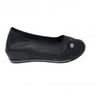 Balerin negru cu talpa de inaltime medie si tivitura cu elastic
