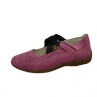 Balerin roz din piele intoarsa cu insertie de elastic peste picior
