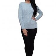 Bluza bluza albastra cu fir argintiu si aplicatii de margele fine, albe