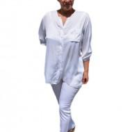 Bluza casual , alba cu nasturi si design de buzunare paietate