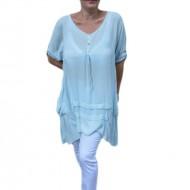 Bluza  casual ,asimetrica, cu design de buzunare ,nuanta de albastru deschis
