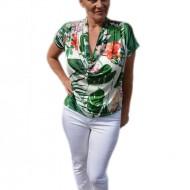 Bluza casual , nuanta de verde cu imprimeu multicolor