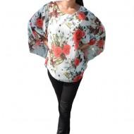 Bluza casual Vivien cu imprimeu big-rose pe fond alb