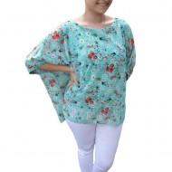 Bluza casual Vivien cu imprimeu camp flower,nuanta de turcoaz