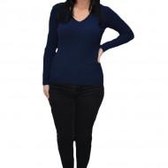 Bluza casuala Kimmy,model simplu si decolteu in V,nuanta de bleumarin