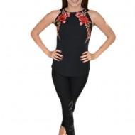 Bluza chic de ocazie, cu design de flori brodate pe fond negru