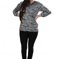 Bluza chic de primavara, gri combinat cu negru, masura mare