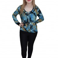 Bluza comoda de zi, nuanta de albastru, imprimeu fashion