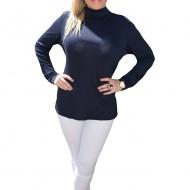 Bluza comoda tip helanca, nuanta bleumarin, de toamna-iarna