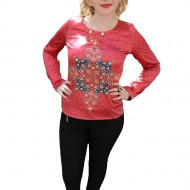Bluza cu maneca lunga, de culoare rosie, cu model oriental