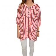 Bluza dama, casual, model cu dungi rosii, pe fundal alb