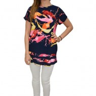 Bluza dama de zi, cu design abstract multicolor, pe fundal bleumarin