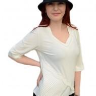 Bluza de ocazie cu pliseuri, strasuri si desgin modern, nuanta de alb