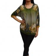 Bluza de ocazie din material tip voal, kaki cu imprimeu floral maro