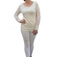 Bluza de ocazie, nuanta de alb, din dantela rafinata si eleganta