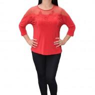 Bluza deosebita cu insertie de dantela si strasuri, nuanta rosie