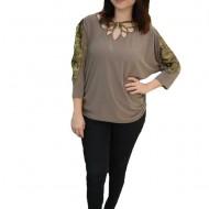 Bluza eleganta Belladonna,design cu dantela la maneca,nuanta de crem