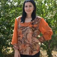 Bluza eleganta, dreapta pe corp, portocalie