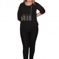 Bluza eleganta  Hanna din voal cu aplicatii de strasuri ,nuanta de negru