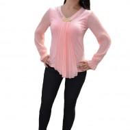 Bluza fashion cu maneca lunga si design de fronseuri, roz pudra
