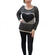 Bluza fashion, nergu-crem, cu design in forma de inima