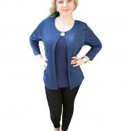 Bluza fashion, nuanta de bleumarin-alb, accesoriu argintiu