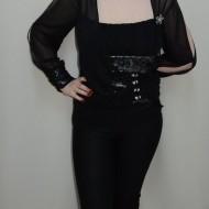 Bluza fashion, nuanta de negru-argintiu, design interesant