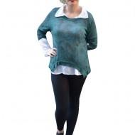 Bluza in tendinte, de culoare verde inchis, din material tricotat