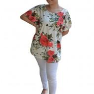 Bluza lejera Calandra cu imprimeu si motive rose, nuanta de alb
