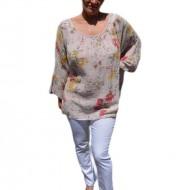Bluza moderna de vara , cu imprimeu floral, nuanta de pudra