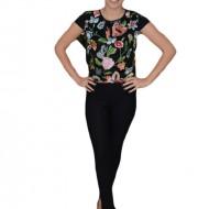 Bluza neagra cu talie scurta si design de flori colorate