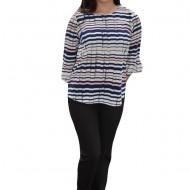 Bluza overside cu imprimeu de dungi multicolore, masuri mari