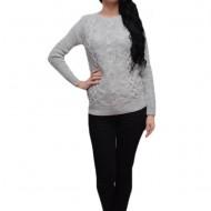 Bluza rafinata cu model, realizata din tricot, fir usor lucios, argintiu