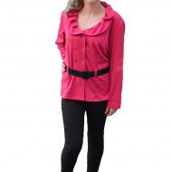 Bluza tip camasa de toamna-iarna, culoare roz, cu maneca lunga
