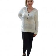 Bluza tricotata eleganta, de culoare alba, cu model de torsade