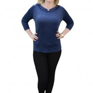 Bluza vintage, nuanta de bleumarin, cu guler elegant si nasturi