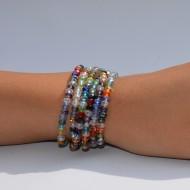 Bratara cu textura elastica,culoare turcoaz,multicolor,rosu,verde,negru-argintiu