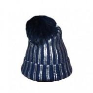 Caciula tricotata cu captuseala de blanita, de culoare bleumarin