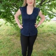 Camasa eleganta de culoare bleumarin cu dantela fina in fata