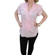 Camasa rafinata cu design de fronseuri, material subtire roz