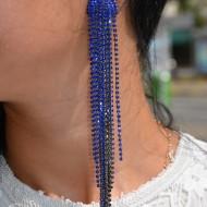 Cercei dama, lungi cu design aparte, realizata din strasuri,albastru