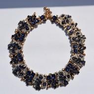 Colier trendy cu design elegant din strasuri si cristale bleumarin