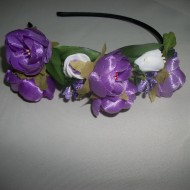 Cordelute, subtiri, cu floricele decorative, mov, albe