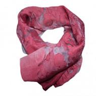 Esarfa eleganta din material fin cu aspect transparent si model roz