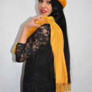 Esarfa moderna toamna-iarna cu blana,nuanta de galben