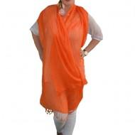 Esarfa simpla cu franjuri, de culoare portocalie, design de dungi
