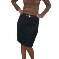 Fusta conica, simpla, scurta, moderna, nuante de negru, bleumarin