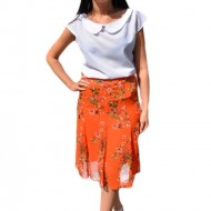 Fusta lejera, midi, nuanta de portocaliu, cu imprimeu floral multicolor